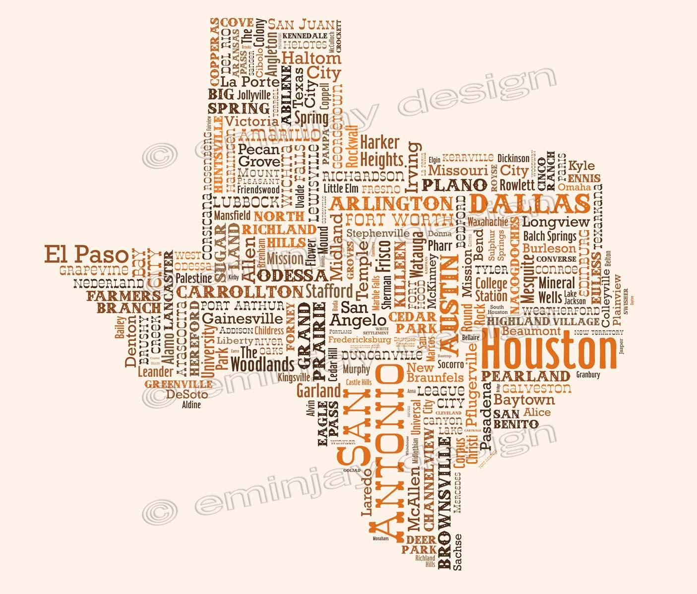 private listing katie s texas typography map art print