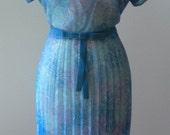 1950s Sheer Blue Floral Vintage Dress