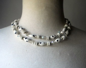 1950s Black and White Double Strand Choker