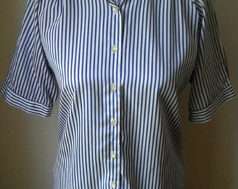 Schrader Sport Blue and White Stripe Blouse