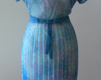 1950s Sheer Blue Floral Vintage Dress