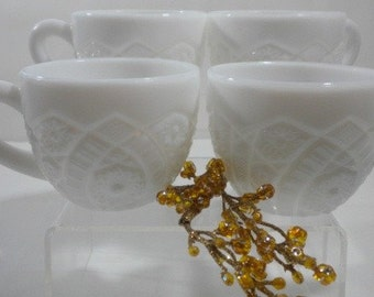 2 Concord McKee Milk Glass Punch Cups