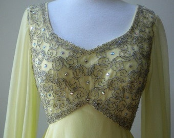 1970's Yellow Evening Gown by Mike Benet Formals