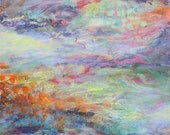 Original Abstract Landscape Painting or Print Color Lake 24x24