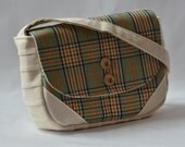 Small Bag in Vintage Plaid fabric and Organic Cotton Canvas