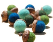 12 Green and Blue Needle Felted Wool Acorns