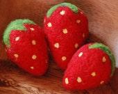 Three Needle Felted Strawberries