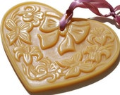 Beeswax Ornament - Heart Shaped  Window Impression Flowers and Butterflies