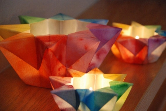 Three Rainbow Waldorf Star Lanterns