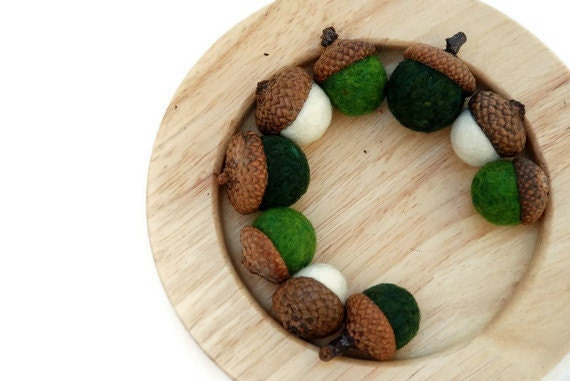 Felted Wool Acorns - Green and White