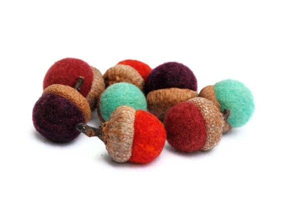 8 Wool Acorns, Jewel Tones - Cranberry, Turquoise, Rust, Red
