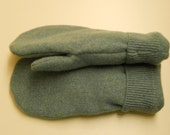 Triple Green Cashmere Wool Mittens: cashmere lined, felted cashmere wool mittens.  Made from recycled sweaters. Ladies Large / Men's Small.