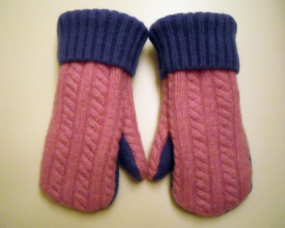 Pink and Purple felted wool mittens: lined with soft purple fleece, made from recycled sweaters. Girls Medium.