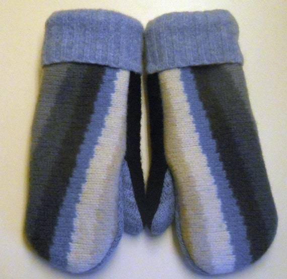 Denim Blue Wave Mittens -  fleece lined, felted recycled wool mittens.  Ladies S/M.
