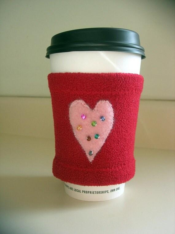 Valentine Heart Beaded Coffee Cozy