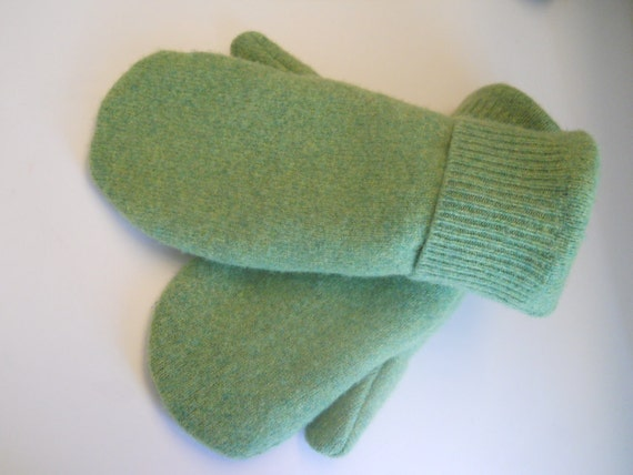 Soft Green Mittens: felted, recycled wool lined with soft fleece.  Ladies M/L or Men's S.