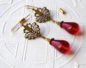 Victorian Art Nouveau Filigree Hearts & Red TearDrop 14kt Gold filled Boho Earrings Wedding Christmas Winter Holiday Anniversary Women Gift