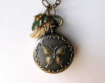 Pocket Watch Necklace  Pendant Earring Butterfly Bee Leaf Watch Locket Art Nouveau Boho Wedding Birthday Anniversary Graduation Gift for Her