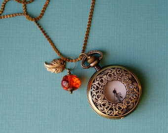 Brass Filigree Clocket - A Pocket Watch Locket Pendant - with Persimmon Charm