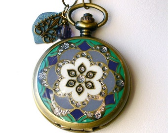 Pocket Watch Necklace Set Turquoise Aqua Purple Floral Lotus Mandala Watch Locket Pendant & Earrings Buddhist Wedding Bridal Birthday Gift