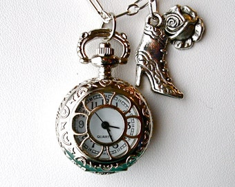 Pocket Watch Necklace Art Nouveau Silver Watch Locket Pendant Victorian Watch Necklace Romantic Rose Old Fashioned Victorian Boot Charm