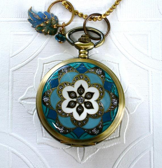 Turquoise Teal & Powder Blue Pocket Watch Locket Pendant Mandala Lotus Flower Buddhist Clocket Earrings Brides Maid Wedding Anniversary