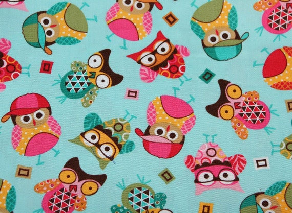 Happy Owls in the springtime Fabric 1 Yard