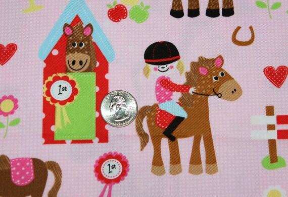 Horse Farm on Gingham Fabric 1 Yard