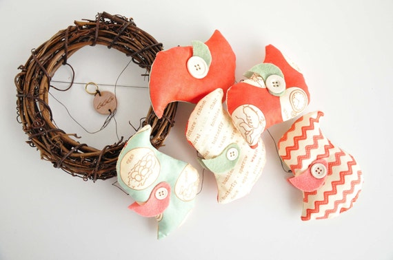Reserved Listing - Bird Mobile - Baby Crib Mobile - Red - Yellow - Green - Cottage Style