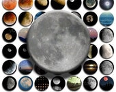 Moon (No. 1) - 1 inch Circles, Digital Collage Sheet PDF Images