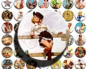 Cowgirl Up (No. 3) - 1 inch Circles, Digital Collage Sheet PDF Images