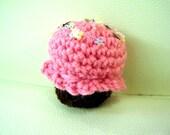 crochet colorful sprinkled cupcake
