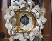 Vintage Shabby Chic Burlap Mesh Wreath (Personalized)