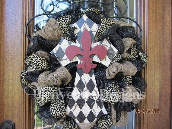 Diamond Fleur De Lis Cross Leopard Mesh Wreath