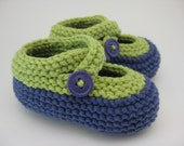 Darling Green and Purple Baby Booties