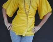 RESERVED for Stephanie: Vintage 1980's Canary Yellow Silk Blouse