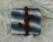 Blue Striped Wallet with Brown Tie/ Bracelet (unisex children kids gift card holder money pouch pocketbook crochet jewelry)