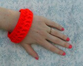 Braided Crochet Bangle in Bright Red (women girls neon summer bracelet jewelry accessories cuff woven band friendship gift)