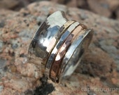 Sterling Silver Spinner Ring with Copper and Brass Satellites, Spinner Ring, Fidget Ring, Wide Band Spinner Ring, Mixed Metal Kinetic Ring