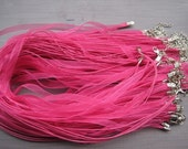 20pcs 17-19 inch adjustable rose red/hot pink ribbon necklace cord