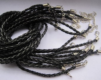 100pcs 3mm 16-18 inch adjustable black faux braided leather necklace cord