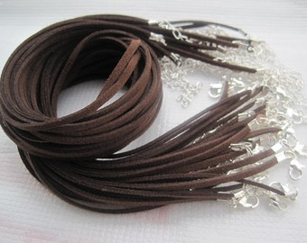 Silver plated findings--30pcs 3mm 16-18 inch adjustable dark coffee suede leather  necklace cord