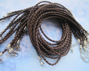 20pcs 3mm 16-18 inch adjustable medium coffee faux braided leather necklace cord