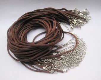 20pcs 16-18 inch adjustable 2mm brown satin necklace cord