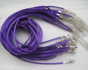 50pcs 18-20 inch adjustable 2mm purple satin necklace cord with lobster clasp