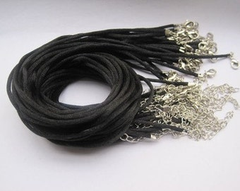 Promotion/Perfect for small bails/50pcs 16-18 inch adjustable 2mm black satin necklace cord with lobster clasp