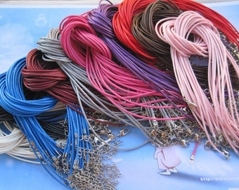 On Sale--Small bails supply--40pcs 1.5mm 16-18 inch adjustable assorted color korea wax snake string necklace cord with lobster clasp
