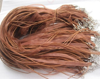 30pcs 17-19 inch adjustable light brown ribbon necklace cord