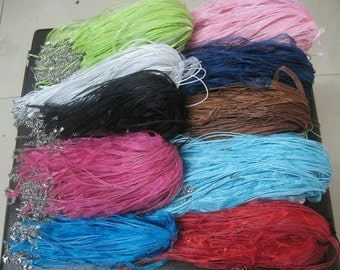 In bulk sale//100pcs 18 inch adjustable assorted color//16 colors at least ribbon necklace cord with lobster clasp