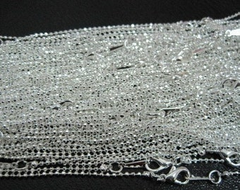 12pcs 1.5mm 17 inch silver plated ball chain necklace  with lobster clasp